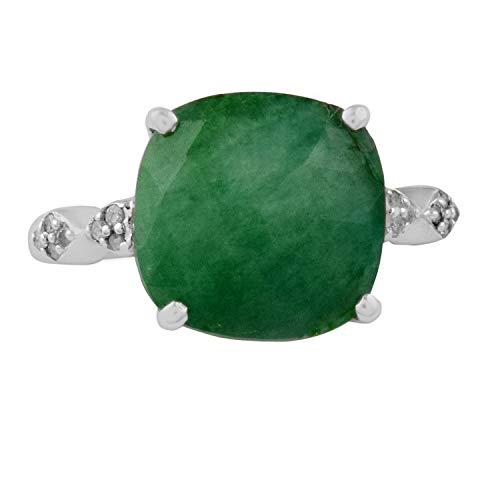 Sitarika 0.10 Carat Round Cut (H-I Color, I3 Clarity) Natural Diamond & 5.18 Carat Cushion Cut 4 Prong Setting Dyed Emerald ring on Rhodium plated 925 Sterling Silver