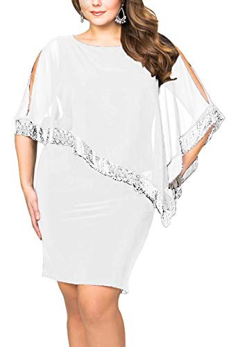 Alaster Queen Sequined Overlay Party Dress Chiffon Poncho Slit Sleeve Pencil Cocktail Mini Dress (White-Plus, Plus-3XLarge)