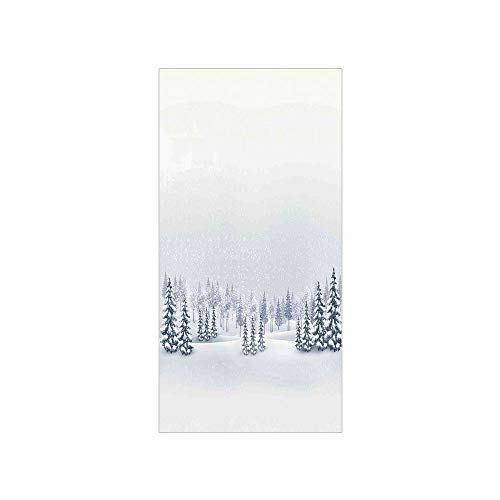 (3D Decorative Film Privacy Window Film No Glue,Winter Decorations,Winter Scene in a Park with Trees Foggy Blurry Weather Ice Cold Frost Image,White,for Home&Office)