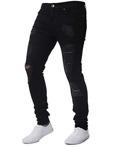 XARAZA Men's Stretchy Ripped Skinny Biker Jeans Slim Fit Denim Pants with Destroyed Hole (Black, US 33) by XARAZA