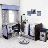 Best Bacati Baby Cribs - Bacati Elephants Blue/Grey 10 Piece Crib Set without Review