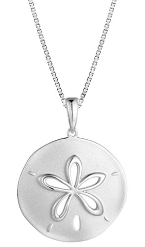 Sterling Silver Matte Finish Sand Dollar Necklace Pendant With 18