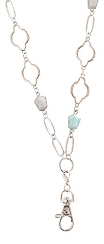 Christina Arabesque Womens Lanyard with Green and Taupe Stones (Silver)