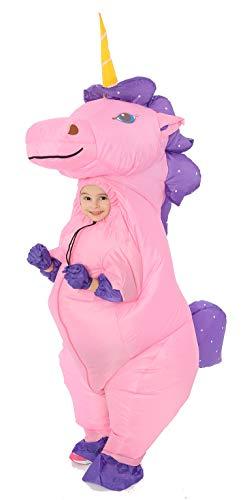 Riding A Unicorn Costumes - GOPRIME Unicorn Inflatable Costume (Gold Small