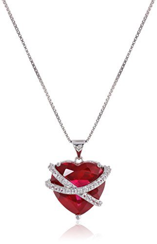 Sterling Silver Created Ruby and White Sapphire Wrapped Heart Pendant Necklace, 18""