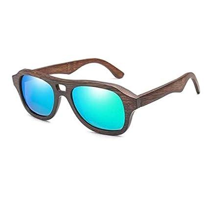 WENZHEN Gafas de Sol de Montura de Madera de diseño Cuadrado ...