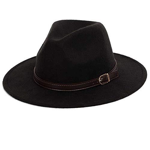 (Men Solid Color Fedoras Autumn Winter Men Hat Jazz Vintage Wool Women Felt Hat Belt Decoration,Black,59-61CM)