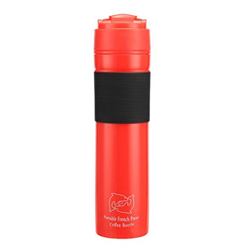 300Ml Portable French Presses Press Coffee Pot Thermos Coffee Mug Travel Household Office Coffee Tools Red