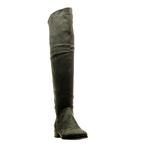 Angkorly - Chaussure Mode Cuissarde Botte cavalier bi-matière femme peau de serpent fermeture zip strass diamant Talon bloc 3.5 CM - Gris