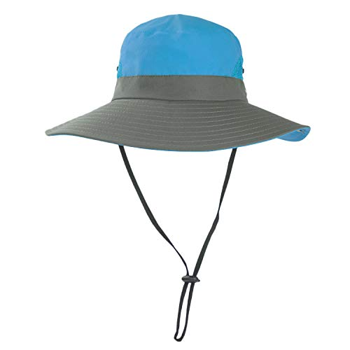 Ponytail Sun Bucket Hats for Girls Kids UV Protection Foldable Mesh Wide Brim Hiking Beach Fishing Summer Safari (1Pink Blue, One Size) (Hat Waterproof Storm)
