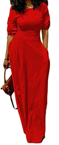 Dress Cruiize Half Pencil Womens Solid Sleeve Rise Maxi Classic Bondycon Red High 6rvFqW6w