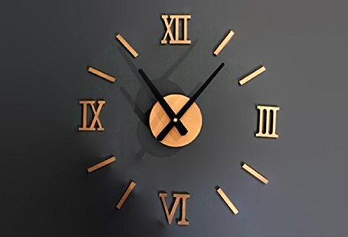 Hot Sale! Fashion Chic DIY Silver Vintage Roman Numeral Number Frameless Wall Clock 3D Home Decor -
