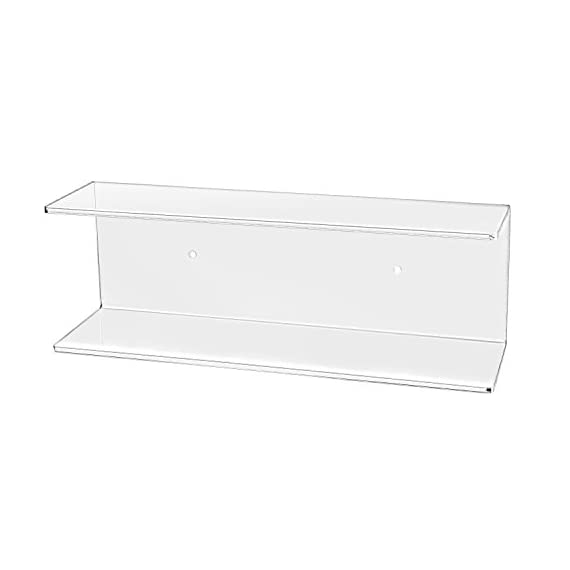 MyGift 2-Tier Clear Wall-Mounted Acrylic Display Shelves/Kitchen & Bathroom Wall Shelf - The modern efficiency and clear acrylic class of this shelf brings stylish organization to any wall space in your home. Features dual tiers making this functional shelf easy to display your favorite things. Makes for a perfect organizer set for cosmetics in bathrooms, spices in kitchens, and decorations in bedrooms. - wall-shelves, living-room-furniture, living-room - 31p%2BNUJKAeL. SS570  -