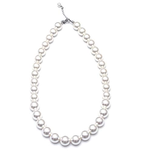 WELLKAGE Kids Pearl Necklace for Girls (White) Ecofriendly Synthetic-Resin]()