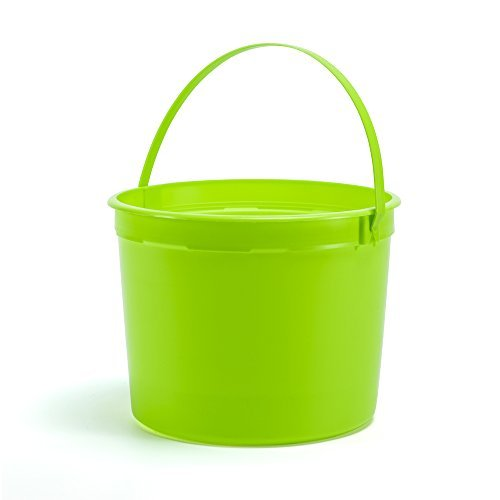 Colorful Buckets 1.25 Gallon Plastic Buckets Lime Green w/ Lime Green Handle 5 Pack