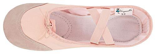 Goccia Pelle Rosa Albicocca Bianco Lino Rosa Mezze In Punte Con albicocca Und A Suola Rinforzi HqH8aXOw