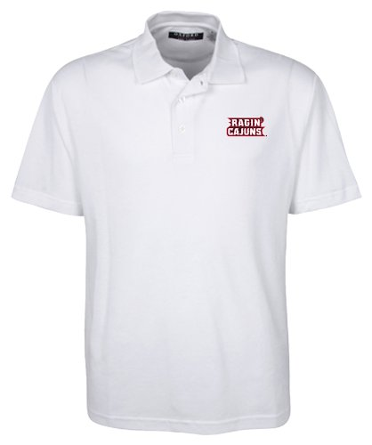 (Oxford NCAA Men's Louisiana Lafayette Ragin' Cajuns 3-Button Polo With Hemmed Sleeves (White, Large))