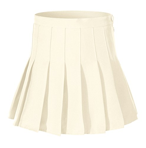 Girls Solid Pleated Mini Short Causal Tennis Skirts Costumes (M,Khaki brown) (Brown Pleated Skirt)