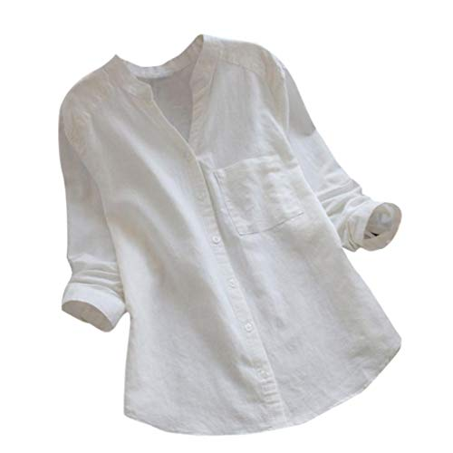 Rambling Women Cotton Linen Casual Loose Button-Down Shirt Solid Long Sleeve Basic Blouse Henley Tops White