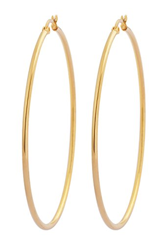 Edforce 18k Gold Plated Stainless Steel Rounded Hoops Earrings (60mm Diameter) (Gold Hoops 60 Mm)
