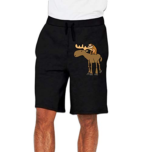 PATS6&S Cute Sloth Riding Moose Cartoon Pants Men's Gym Fitness Trousers Jogger Gym Shorts Black