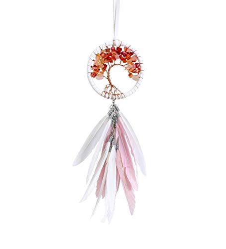 DrCor Small Dream Catcher for Car Rear View Mirror Tree of Life Decoration Hanging Accessories Handmade Traditional Boho Chic Native American Room Teepee Wall Decor