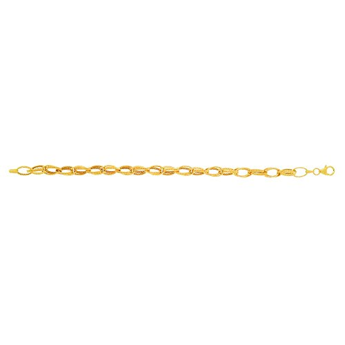 14k Yellow Gold 7.5 Inch Shiny Sparkle-Cut Double Row Type Oval Link Fancy Bracelet Pear Shape Clasp ()