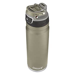 Coleman FreeFlow AUTOSEAL Insulated Stainless Steel Water Bottle, Sandstone, 24 oz.