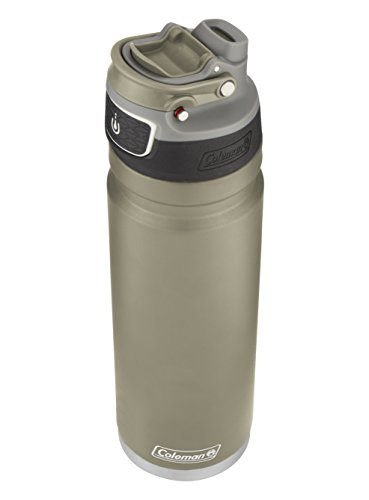(Coleman FreeFlow AUTOSEAL Insulated Stainless Steel Water Bottle, Sandstone, 24 oz.)