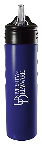 (University of Delaware-24oz. Stainless Steel Grip Water Bottle with Straw-Blue)