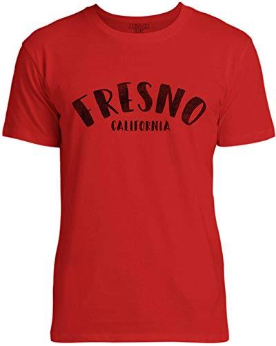 Austin Ink Apparel Womens City of Fresno California Unisex Cotton T-Shirt, Apple Red, 2XL (Fresno One Apple)