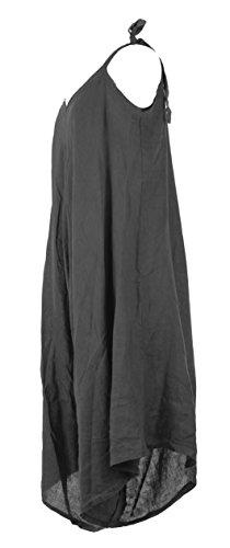 Leg Romper Jumpsuit Linen Lagenlook Wide Tie Ladies One Dark Size Playsuit TEXTURE Italian Womens Grey gxvXqnH