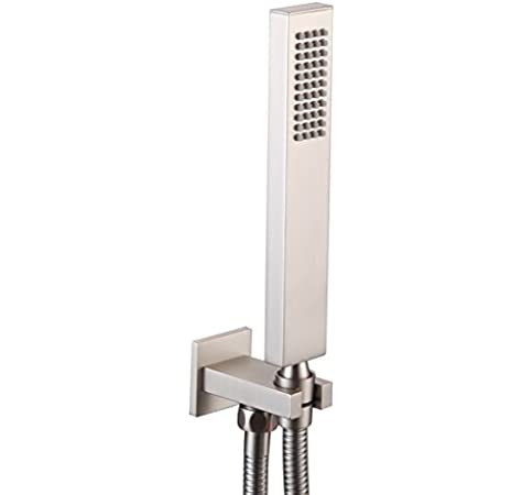 Square Solid Brass Chrome Hand Held Shower Head With Wall Connector and Hose Set