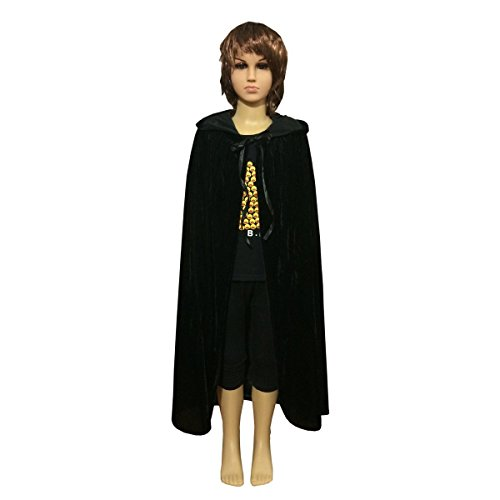 Unisex Kids Hooded Cloak Cape Party Role Play Costume Christmas Decoration Velvet Hooded Cloak Costumes (Large(100cm /39.37 inches), Black) ()
