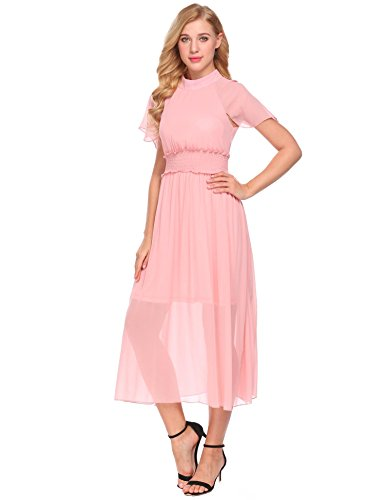 Halter ACEVOG Belt A Chiffon Vintage Loose Pleated Pink with line Women's Dress xUrRUawE