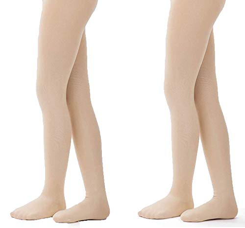 Tights for Girls Ballet Leotards Toddler Dance Leggings Pants Footed Kids (Skin - 2 Tights, 5-10 Years)