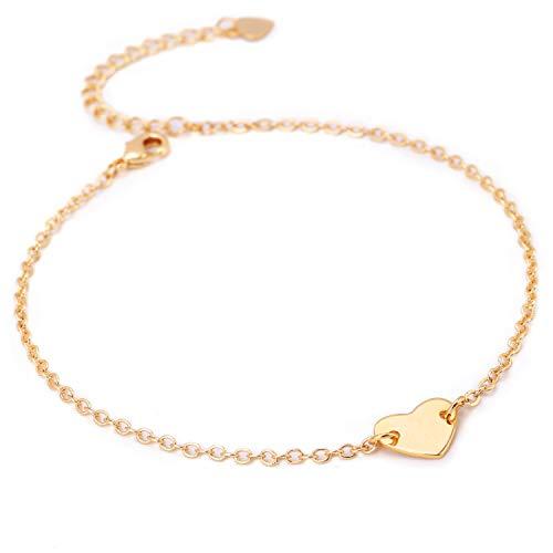 - POTESSA Anklets for Women 18k Gold Plated Heart Adjustable Foot Ankle Bracelet for Girls