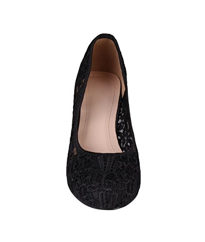 Womens Pumps On Heel Shoes Slip Mid Plain High Office KRISP 5600 Black Low Wedge Court Sxg44Pdq