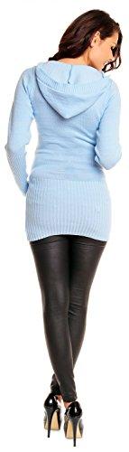 Zeta Ville De Las Mujeres Maternidad Caliente Knit Pullover Jersey Túnica capucha cuello de pico–�?21C azul claro