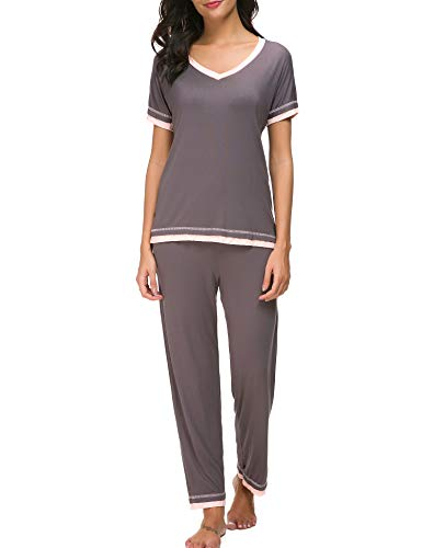 Dolay Pyjama Sets Ladies Sleeping Pjs Two Piece Lounge Outfits Pajama Nightwear (Gray, Medium)