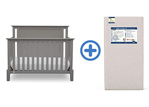 Serta Mid Century Modern Lifestyle 4-in-1 Convertible Crib, Grey with Perfect Evening Air Crib and Toddler Mattress
