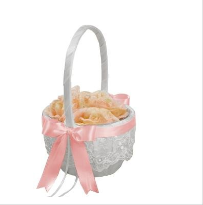 Beverly Clark Chantilly Lace White Flower Girl Basket With Custom Satin Ribbon Bow (PETAL PINK)