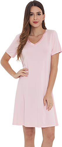 NEIWAI Women's Nightgowns Bamboo Sleep Shirt Short Lounge Dress Pink L