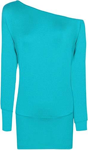 larga Negro Camiseta de 21fashion para manga Turquesa mujer tw1zOYqFx