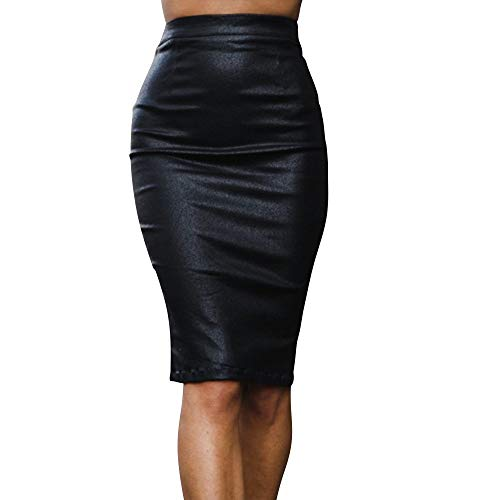 (Women's Faux Leather Midi Skirt High Waist PU Leather Solid Bodycon Pencil Skirt (Black, M) )