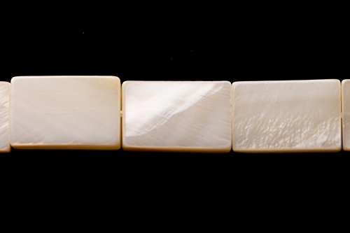 Shell Flat Rectangle Beads - White Mother-Of-Pearl Flat Rectangle Shell Beads Size:15x10mm