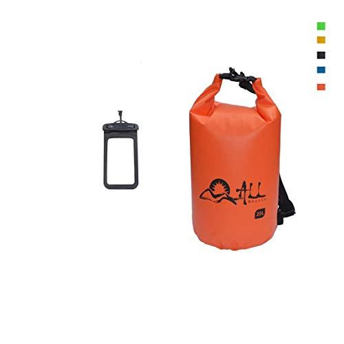ALLBEYOND 500D 5L/10L/20L/30L Tarpaulin PVC Waterproof Dry Bag Roll Top Sack Keeps Gear Dry for Kayaking/Swimming/Camping/Fishing/Snowboarding/Canoeing/Hiking with Waterproof Phone Case (Orange, 30L)