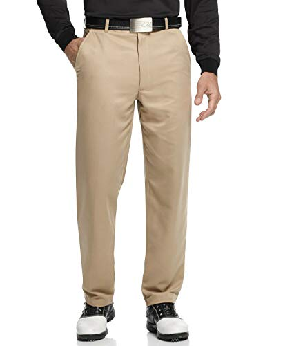 Greg Norman Men's 5 Iron Flat Front Golf Pants (Washed Khaki, 30W x 30L)