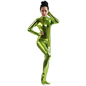 - 31p 2BkwY 2BenL - Ensnovo Womens Shiny Metallic Zentai Suit Wetlook Spandex Turtleneck Unitard