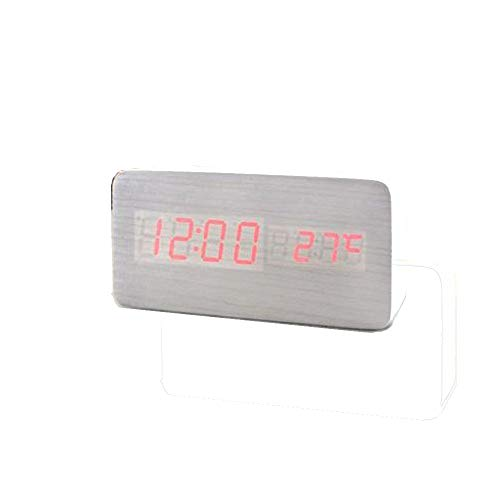 Yu2d  Voice Control Calendar Thermometer Wooden LED Digital Alarm Clock USB/AAA(White)